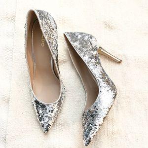 nwob silver sequins sparkle stiletto heels
